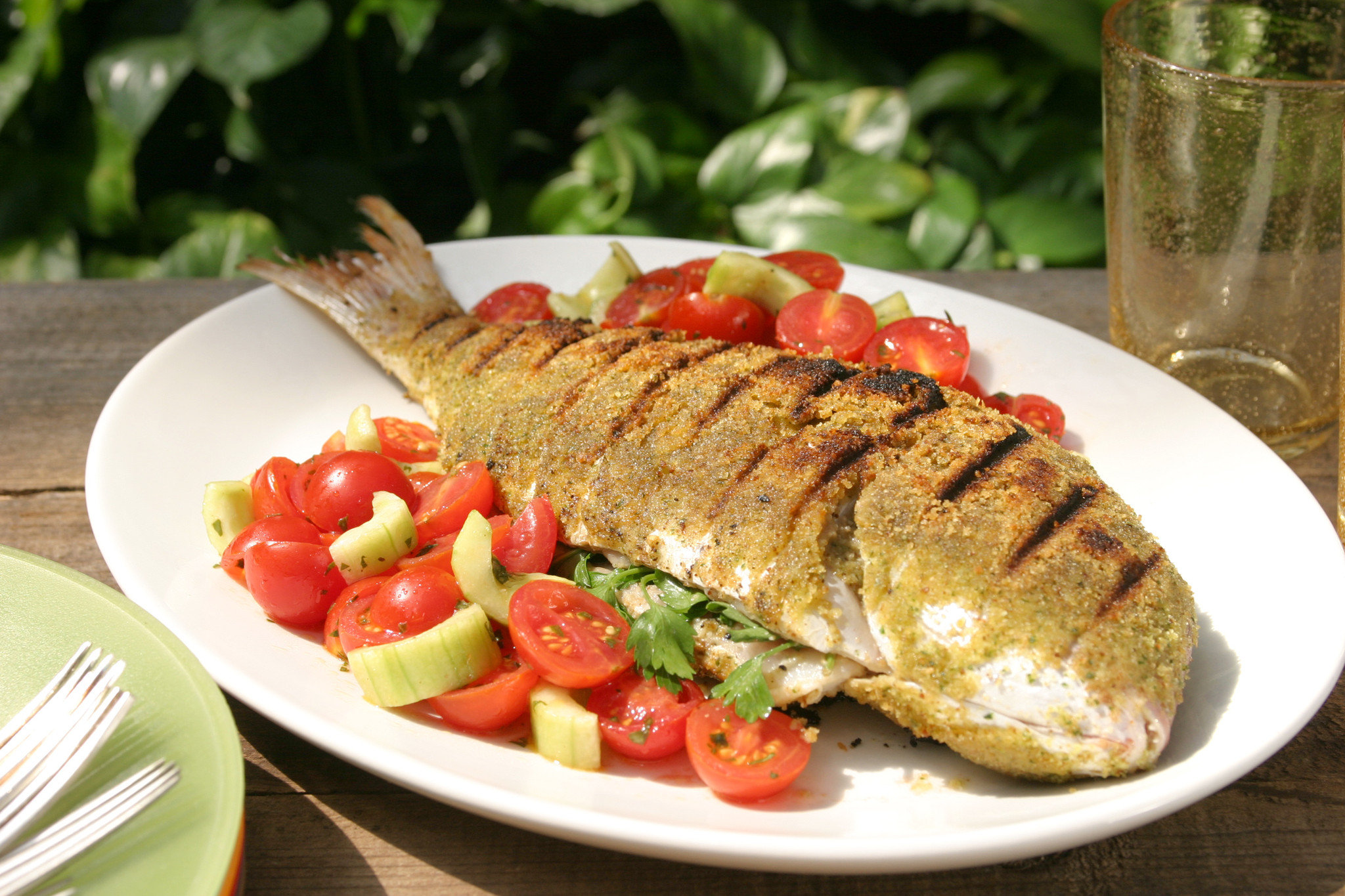 Trout Fish or Tilapia With Salad Shirazi